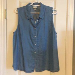 Sleeveless Blue Chambray Button Front Shirt